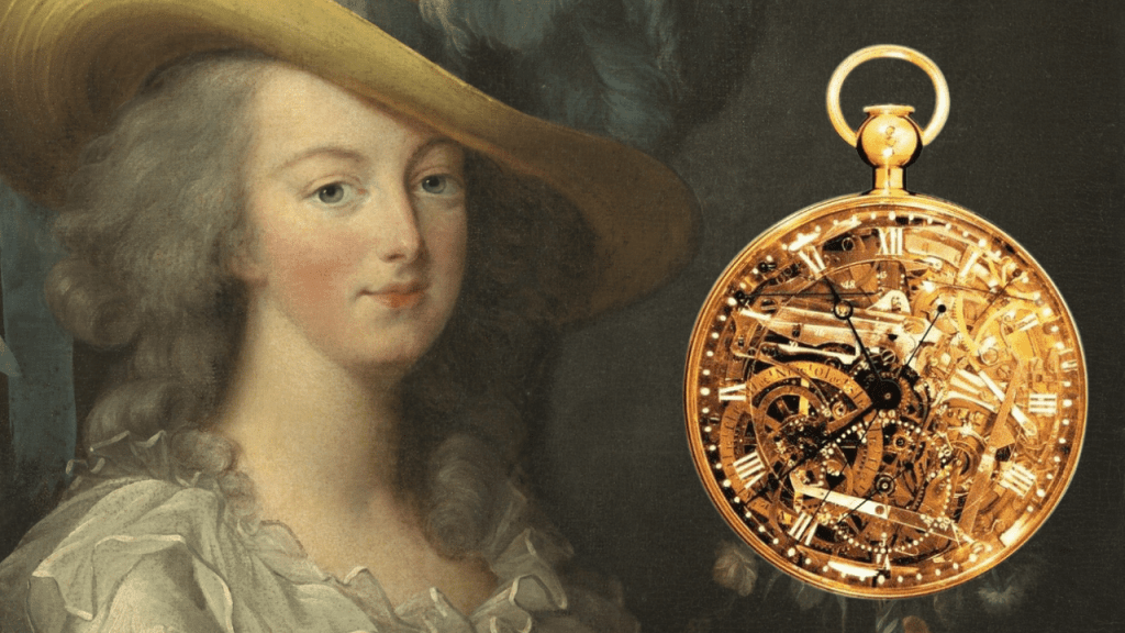 Portrait of Marie Antoinette with a photo of the Marie Antoinette gold pocket watch