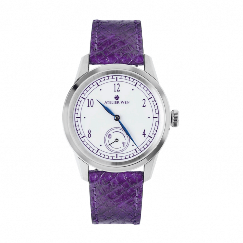 Purple strapped watch from the Chinese watch brand Atelier Wen.