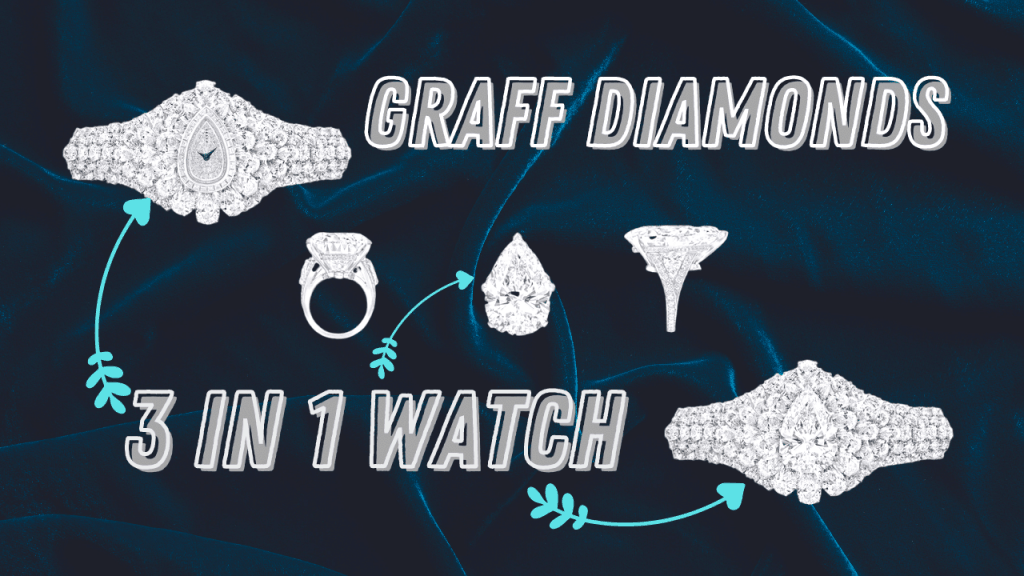 Graff Diamonds The Fascination Watch - Diagram of all three pieces; the watch, the bracelet, and the diamond ring