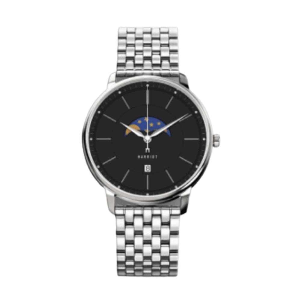 Stainless steel Moonphase watch from korean watch brand Harriot.
