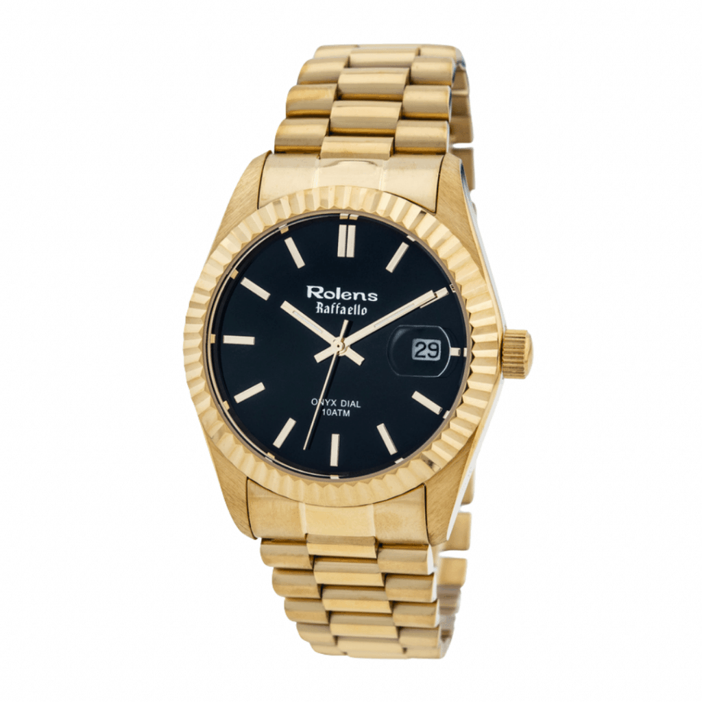 Gold plated watch with a black dial and gold hands and indices, from Korean watch brand Rolens.