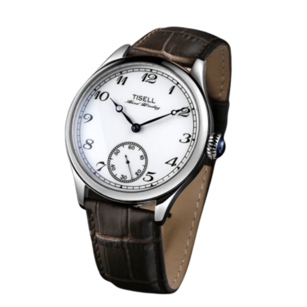 Dress watch with a silver bezel, a white dial and brown leather band from Korean watch brand Tisell.
