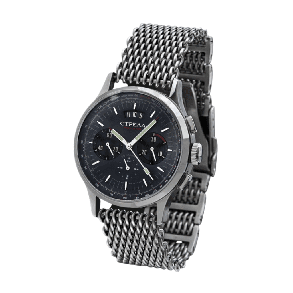 Silver watch with a silver mesh bracelet from Russian watch brand STRELA.