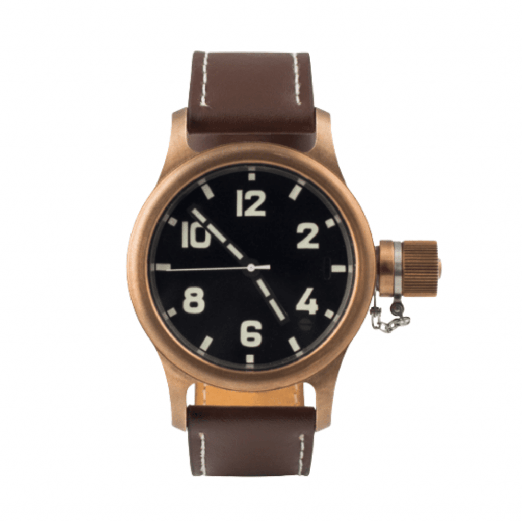 Military watch with a black dial and a bronze bezel from Russian watch brand Zlatoust.