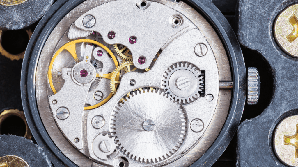 Photo of the inside of a manual mechanical watch movement