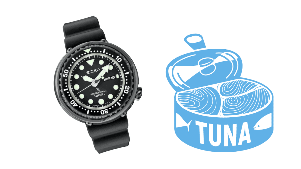 Photo of a Seiko Tuna S23631 and a picture of a tuna can