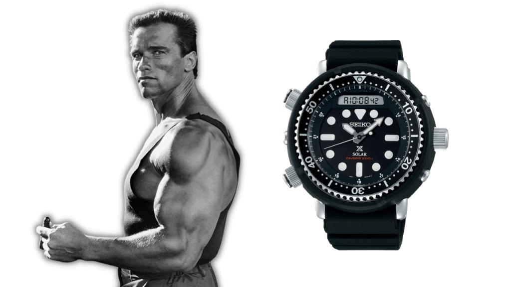 A photo of Arnold Schwarzenegger and a Seiko Arnie Ref. H558-5009