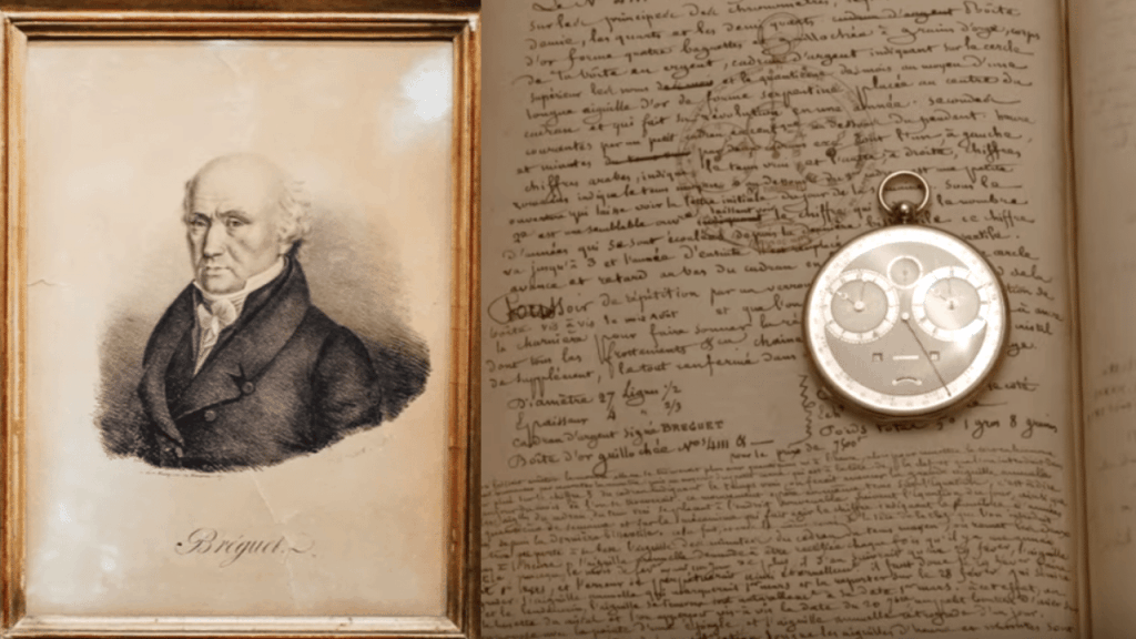 Portrait of Abraham-Louis Breguet, with a journal of his writing, and a Breguet pocket watch
