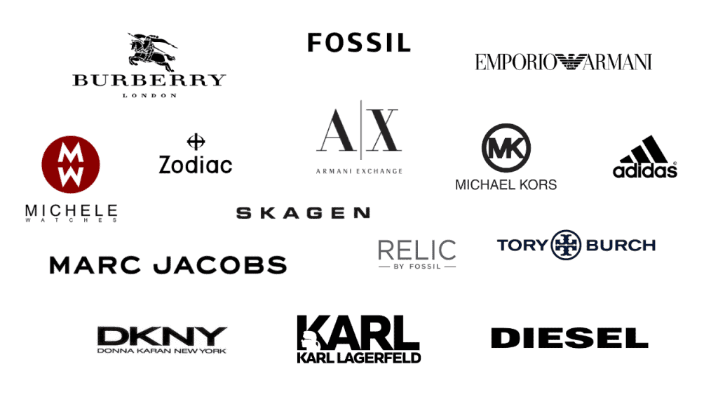 Brand logos of the Fossil Watch Group