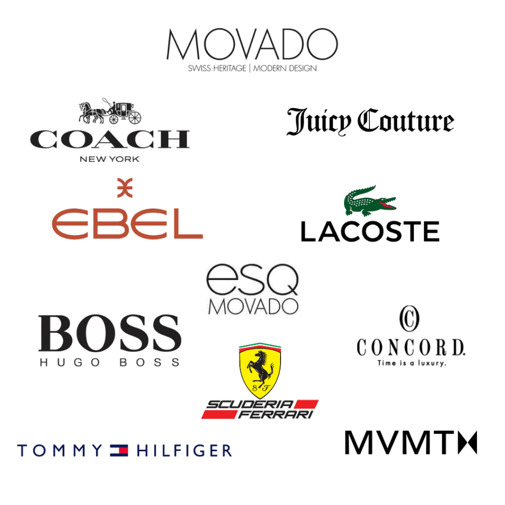 Brand logos of the Movado Watch Group