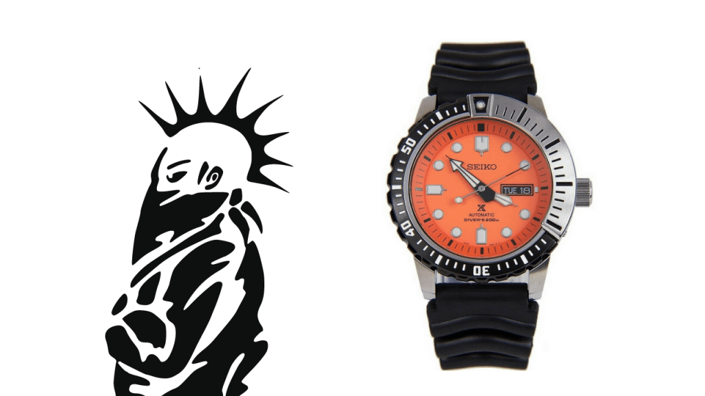 An image of punk person with a mohawk and a photo of a Seiko Mohawk SRP589