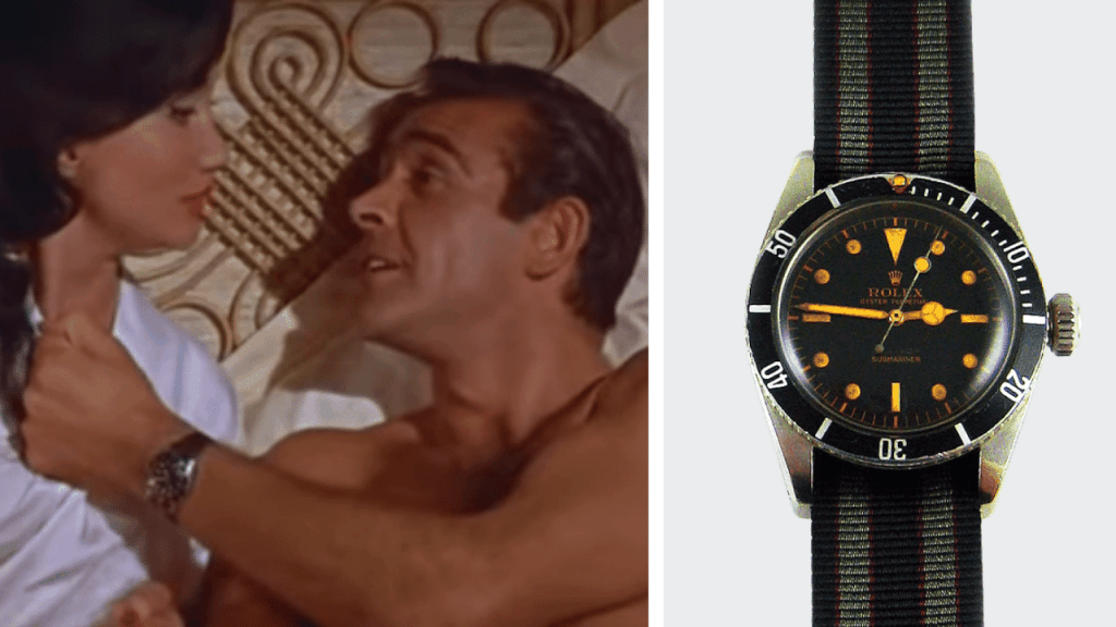 Photo of the scene with Sean Connery in Dr. No, and a photo of the Rolex Submariner Ref. 6358