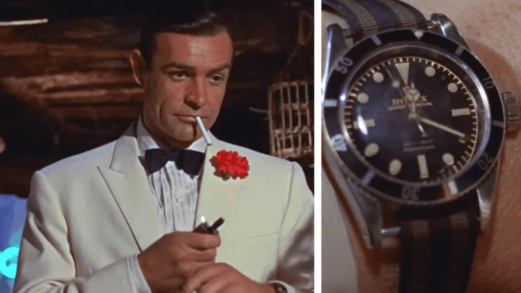 Photo of Sean Connery in the Bond movie Goldfinger wearing a Rolex Submariner