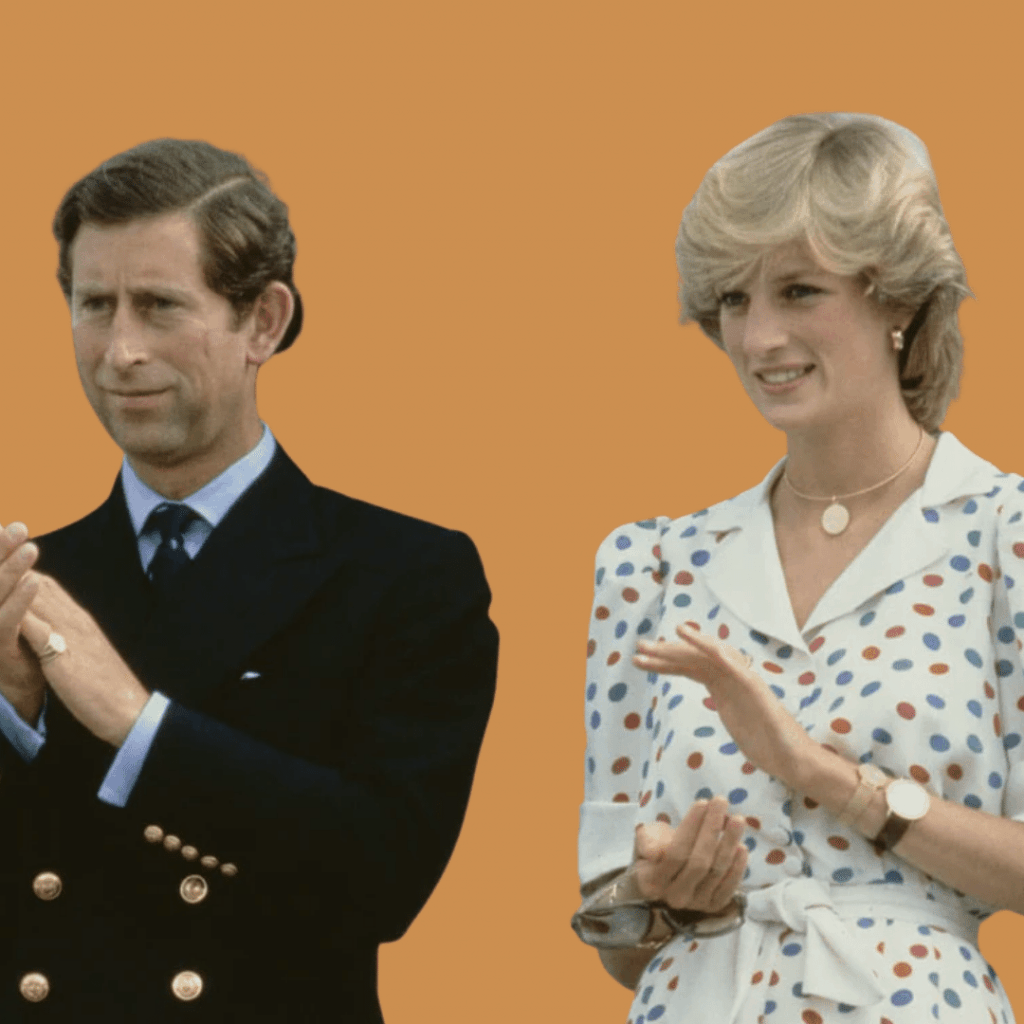 Photo of Diana wearing two Patek Philippe watches with Prince Charles