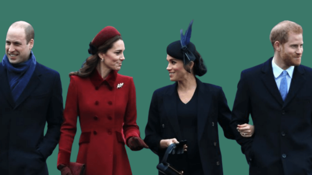 Photo of Price William, Kate Middleton, Meghan Markle, and Prince Harry celebrating a family Christmas in 2019