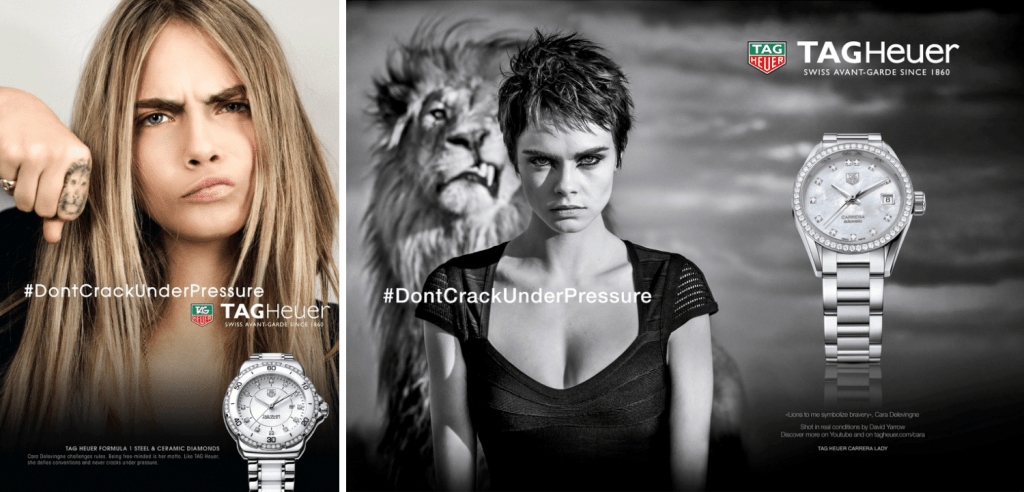 TAG Heuer advertisements with Cara Delevingne