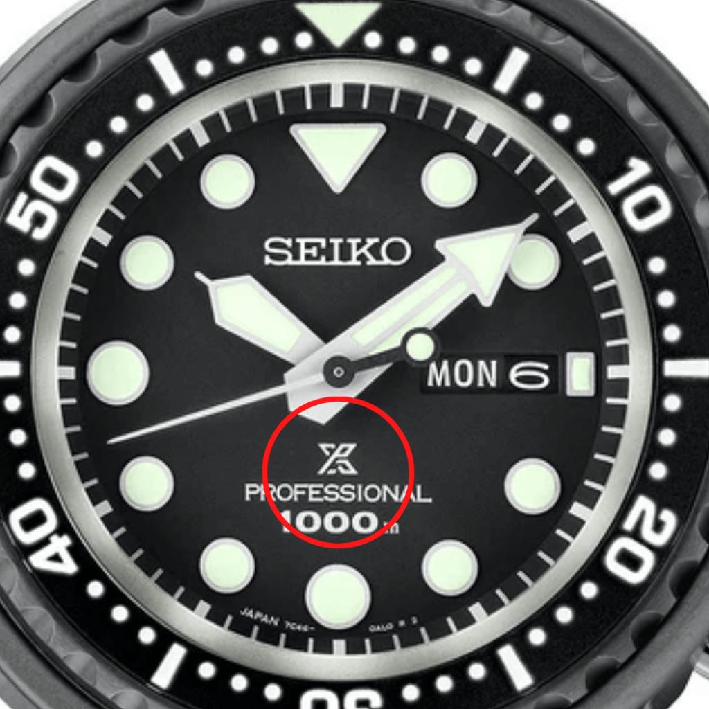 Photo showing the Prospex logo on a Seiko dial