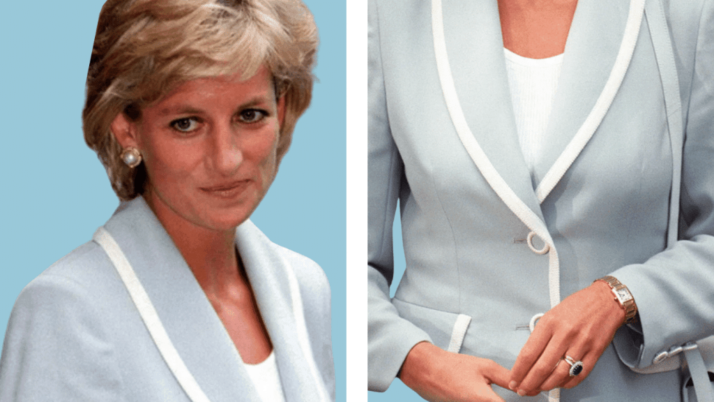 Photo of Diana wearing her Cartier Tank Française watch after finalizing her divorce in August 1996