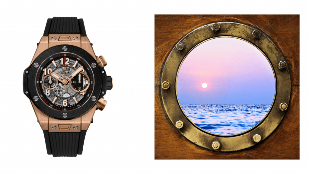 The definition for Hublot is a porthole.This photo shows a Hublot watch next to a porthole to show the similarities.