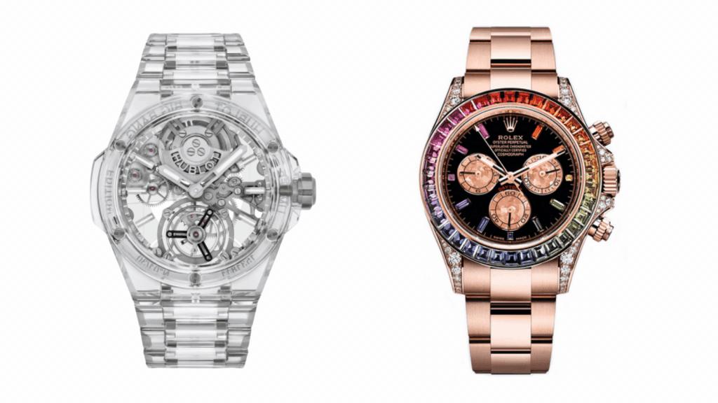 Hublot vs Rolex: Comparison of a Hublot Big Bang Full Sapphire vs Rolex Rainbow Daytona