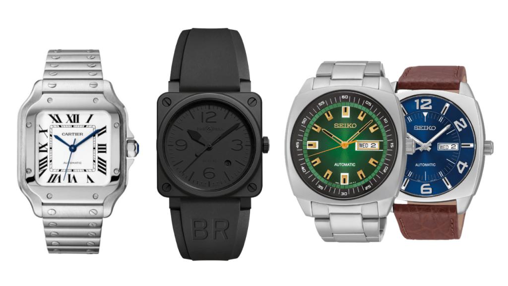 Photo of the 4 top picks for the best square face mens watch - Cartier de Santos, Bell & Ross Phantom, Seiko SNKM97, and Seiko SNKN37.