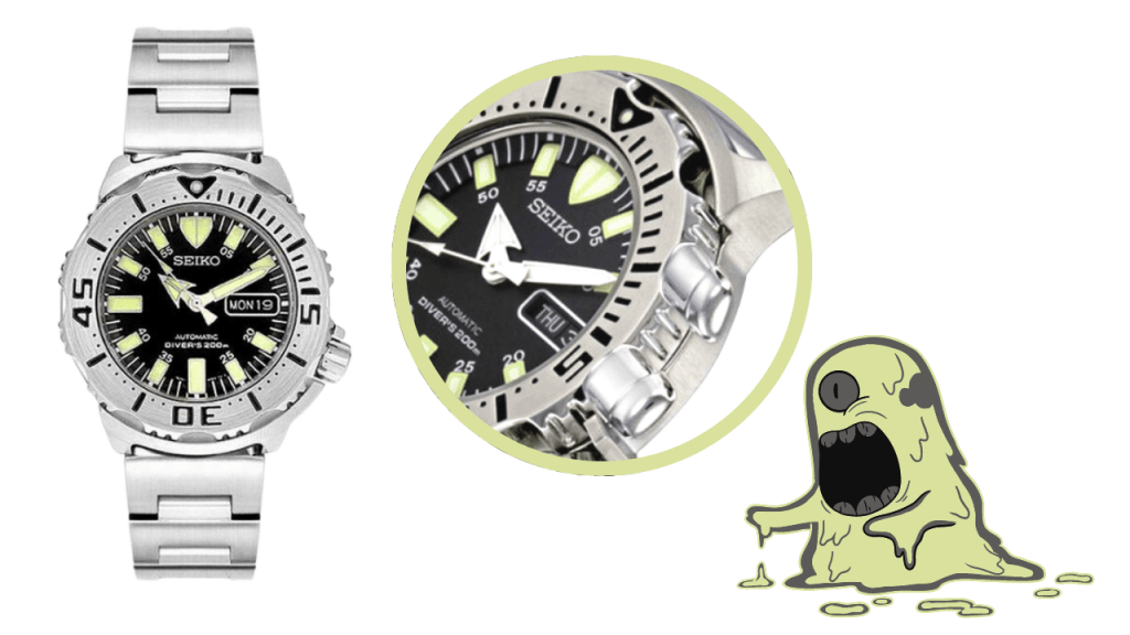 Seiko Monster SKX779 ; picture of the watch, a close up of the bezel and an image of a green monster