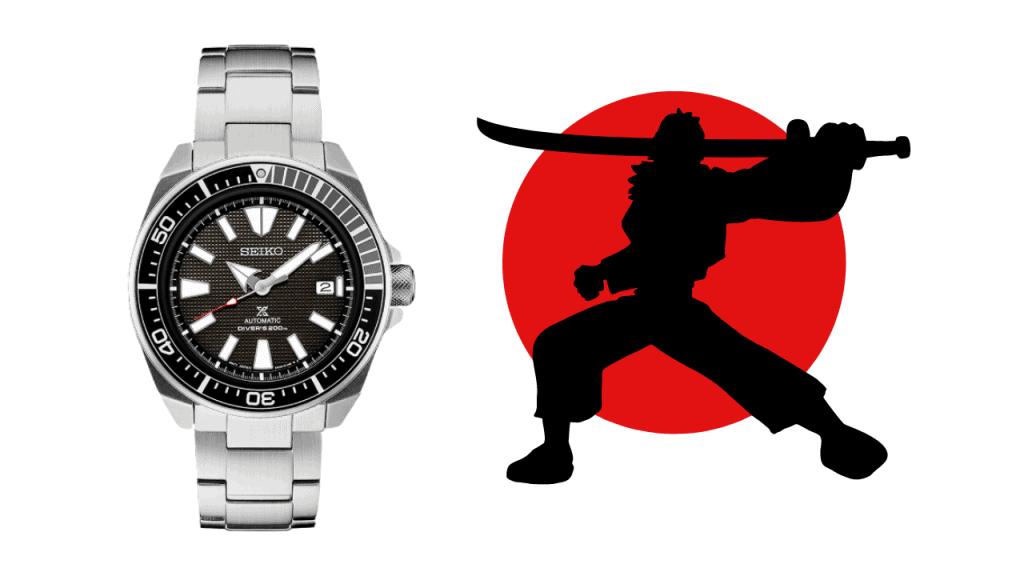 Photo of a Seiko Samurai SRPB51 with a picture of a Samurai