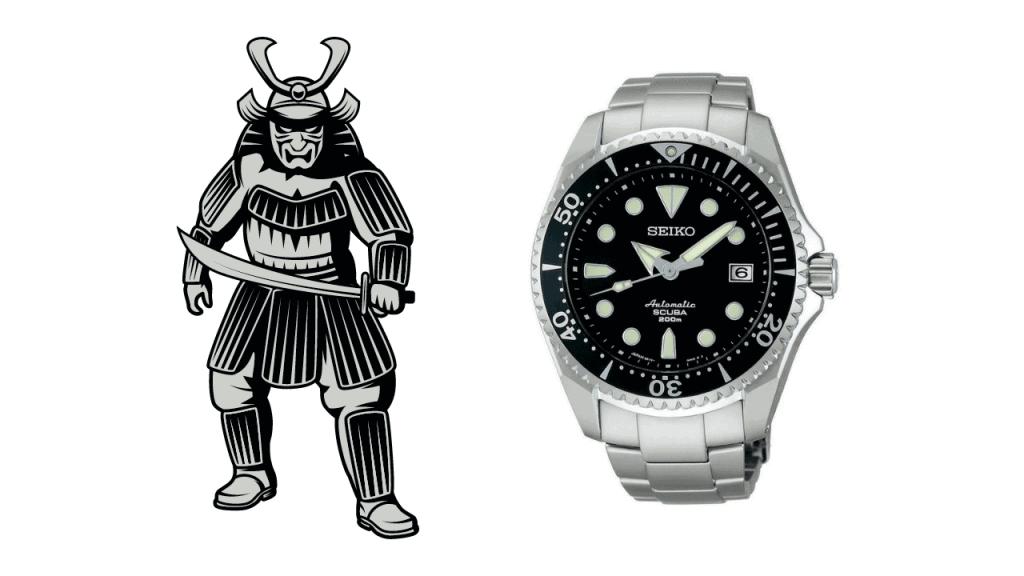 A picture of a shogun and a photo of a Seiko Shogun SBDC007
