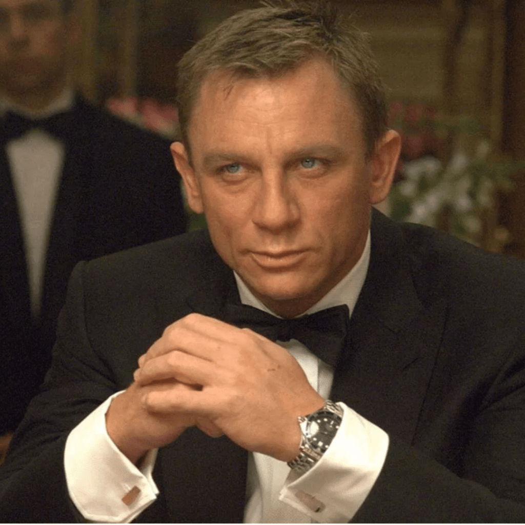 Daniel Craig wearing a dive watch with a tux in the Bond movie Casino Royale.
