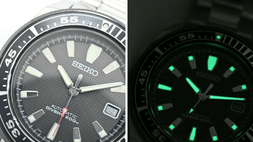 Close up photo of the dial of a Seiko Samurai SNM033 (Generation 1)