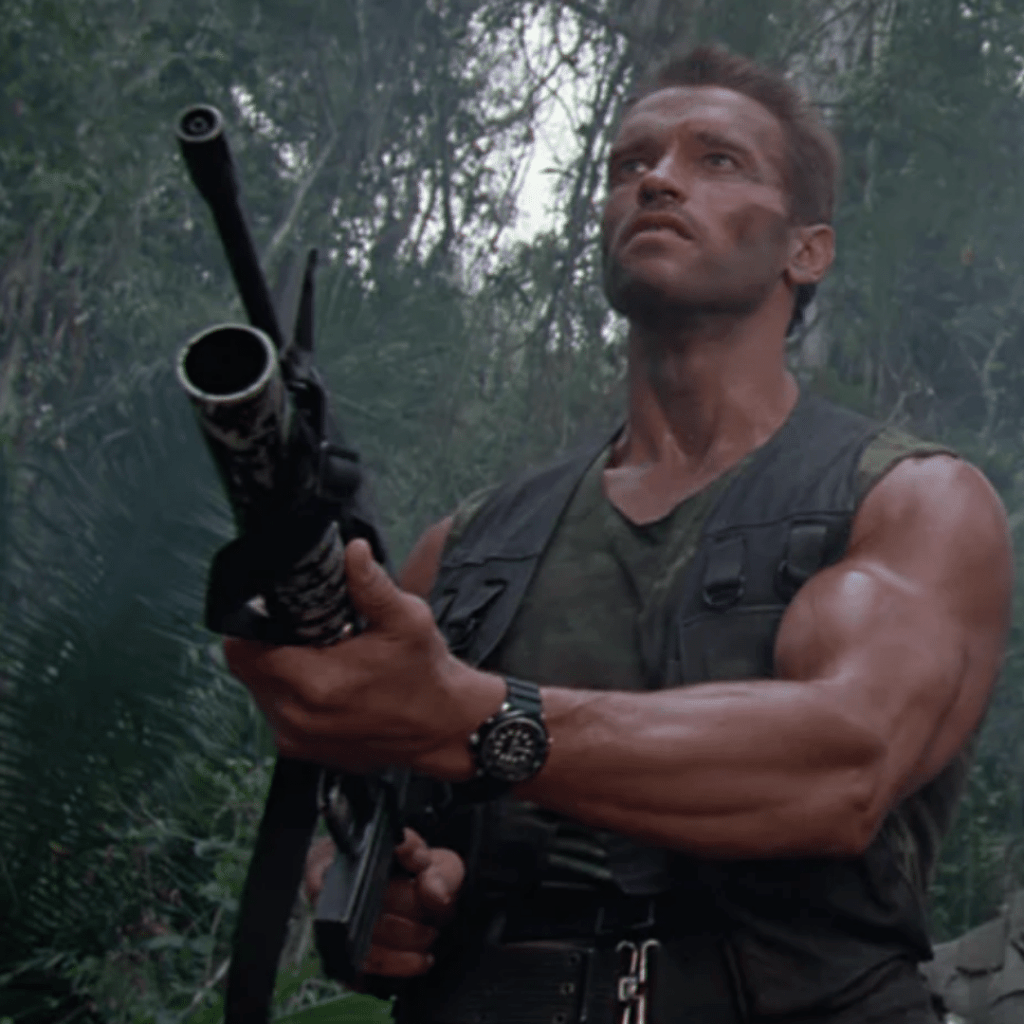 Arnold Schwarzenegger wearing his Seiko Arnie in the movie Commando.