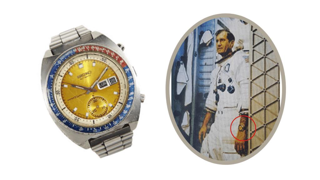 Image of the original Seiko Pogue Ref. 6139-6002 next to a photo of the NASA astronaut Colonel Pogue