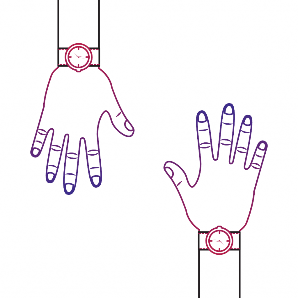 Two hands with watches on their wrists.