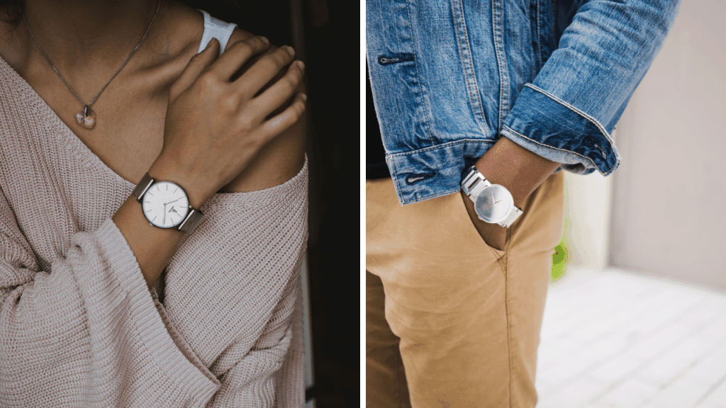 Woman and man wearing a watch on their right or left side.