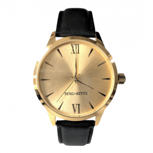 Dress watch in black and gold from Canadian watch brand; BERG & BETTS