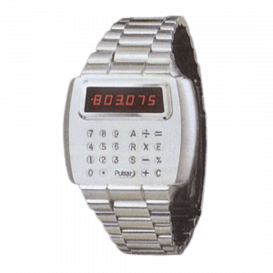 Photo of the world's first calculator watch - the Pulsar Calculator Time LED calculator watch