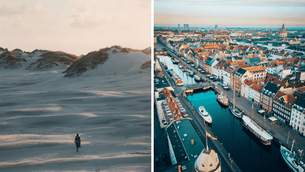 Photos of Denmark, on the left photo of a beach in Skagen with a women walking alone. On the right a photo of the city of Copenhagen.